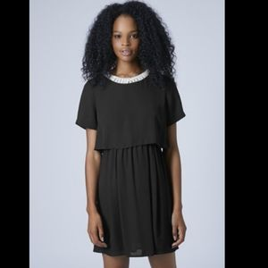 Topshop black overlay dress faux pearl neckline